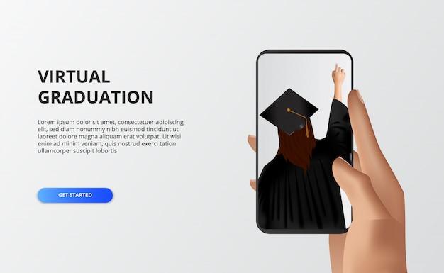 Wirtualna podziałka na czas kwarantanny na covid-19. kobieta używa sukni i czapki ukończenia szkoły dla absolwenta szkoły lub kampusu. ręka trzyma telefon do transmisji na żywo.