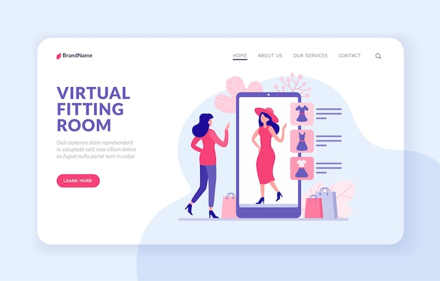 Wirtualna przymierzalnia strony docelowej strony internetowej transparent wektor szablon. kobieta próbuje ubrania w aplikacji internetowej. kobieca postać wybiera czerwoną sukienkę i czapkę ze sklepu internetowego i wirtualnie je ubiera