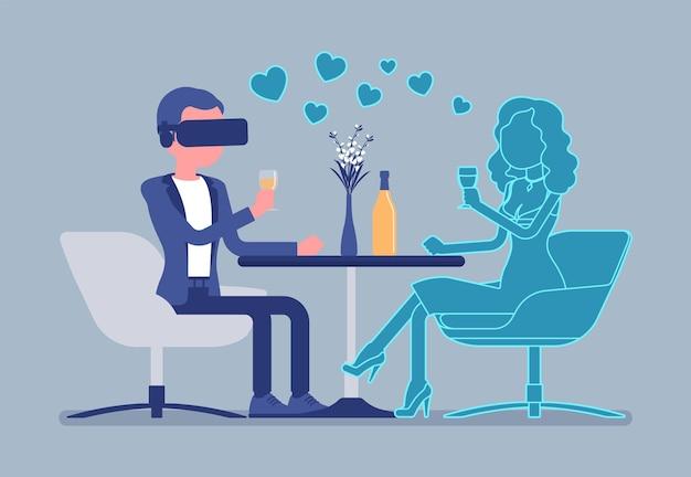 Wirtualna randka w restauracji. mężczyzna ubrany w zestaw słuchawkowy vr, spotkanie z nieprawdziwą kobietą, system gier do rozrywki, technologia komputerowa do symulowanego środowiska. ilustracja wektorowa, postacie bez twarzy