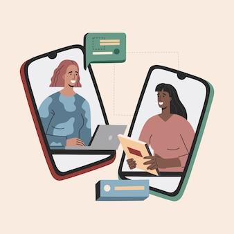 Wirtualna rozmowa kwalifikacyjna, dwie kobiety mają rozmowę biznesową
