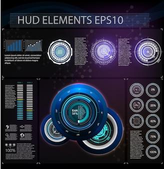 Wirtualna rzeczywistość. futurystyczny projekt wyświetlacza headup vr. futurystyczny wyświetlacz z danymi, prędkościomierzem i panelem statystyk.