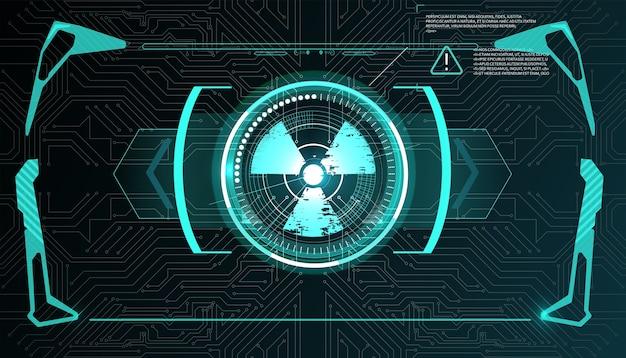 Wirtualna rzeczywistość. futurystyczny wyświetlacz head-up vr. hud sci-fi hud, gui, ui. futurystyczny wyświetlacz z panelem danych, prędkościomierza i statystyk.