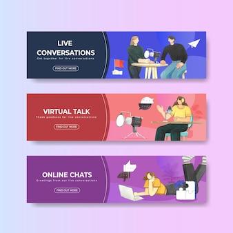 Wirtualna rzeczywistość i czaty online zestaw szablonów banerów