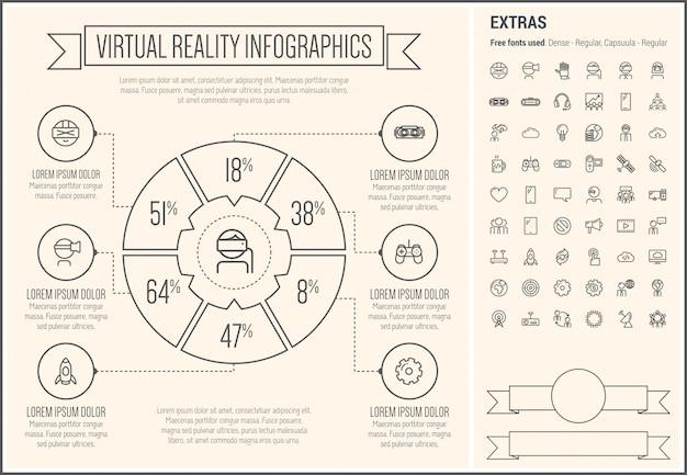 Wirtualna rzeczywistość linii projekt infographic szablon