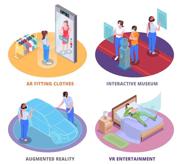 Wirtualna rzeczywistość rozszerzona cztery okrągłe izometryczne ilustracje