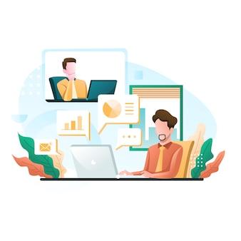 Wirtualne połączenie konferencyjne spotkania grupy biznesowej i pracy w domu