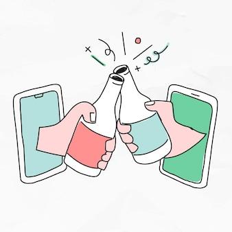 Wirtualne spotkanie z dystansem społecznym w nowym rysunku doodle normalnego stylu życia