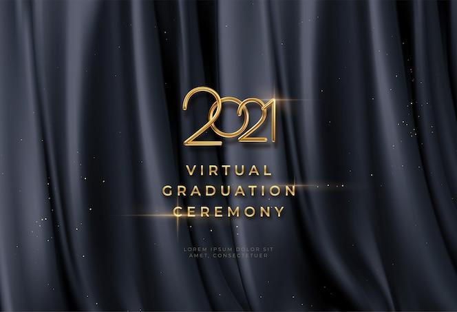 Wirtualne tło ceremonii ukończenia szkoły ze złotym napisem