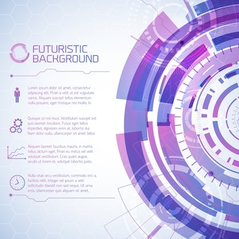 Wirtualne tło technologii składające się z futurystycznych okrągłych elementów ekranu dotykowego użytkownika i akapitów tekstu z ikonami
