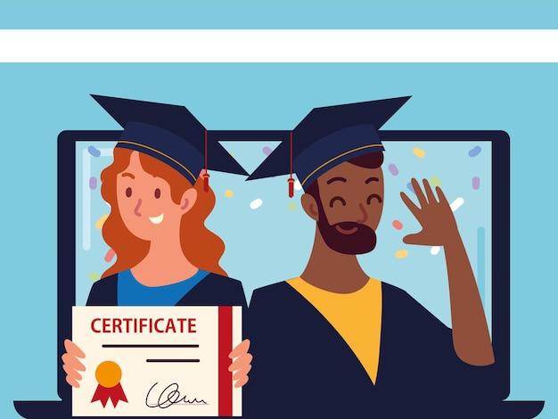 Wirtualne ukończenie studiów przez ludzi