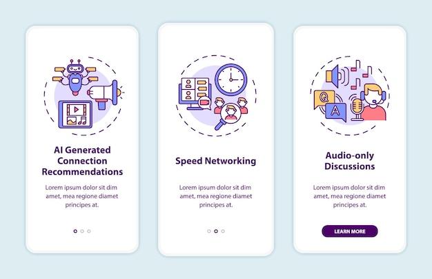 Wirtualne wydarzenia dla sieci, wprowadzające ekran strony aplikacji mobilnej z koncepcjami