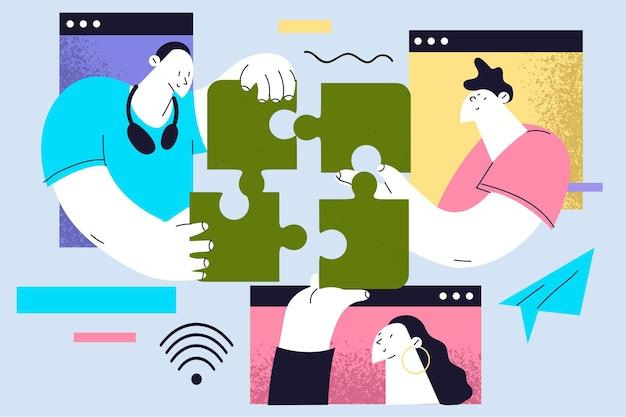 Wirtualne zespoły partnerów biznesowych pracujących online i rozwiązujących typowe zadania korporacyjne