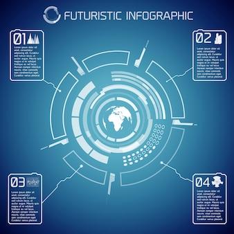 Wirtualny futurystyczny szablon infografiki z tekstem globu interfejsu użytkownika i ikonami na niebieskim tle