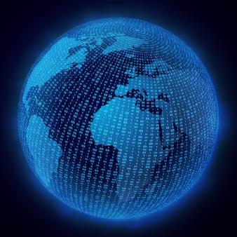 Wirtualny hologram planety ziemia