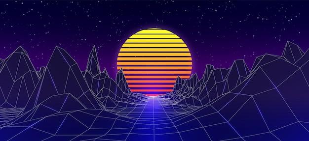 Wirtualny retro fioletowy krajobraz. plakat w stylu fali syntezatora. 80s gry neonowe tło z drogą i słońcem.