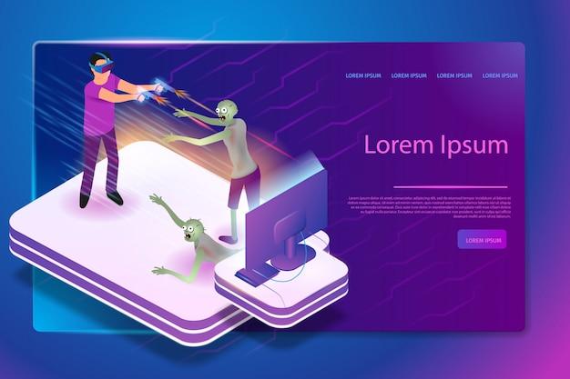 Wirtualny serwis gier izometryczny wektor baneru internetowego