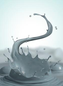 Wirujące i rozpryskiwania błota na parującym tle, ilustracja 3d