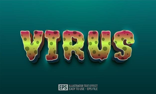 Wirus 3d edytowalny tekst szablon efekt stylu