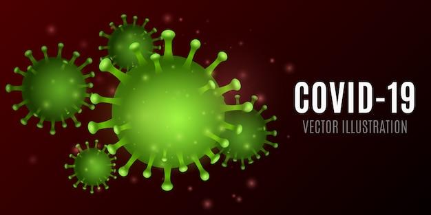 Wirus abstrakcyjny. mikro zielony korona 3d. pojęcie medyczne. organizm patogenny. ilustracja