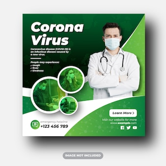 Wirus corona covid-19 alert lub szpitalne media społecznościowe umieszczają banery reklamowe