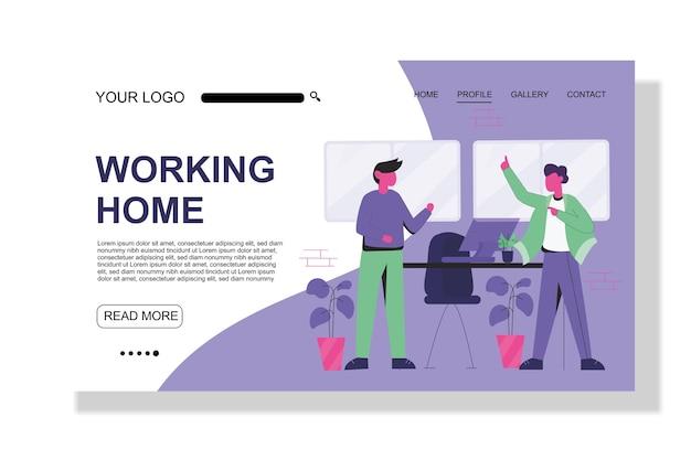 Wirus corona kwarantanna i praca w domu płaski szablon strony docelowej strony internetowej