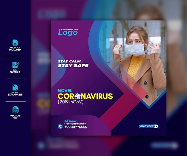 Wirus corona szablon mediów społecznościowych premium