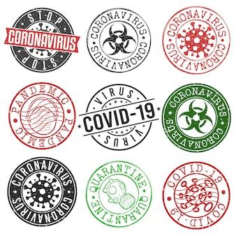 Wirus coronavirus concept stamp virus. okrągły symbol starego stylu. zaprojektuj pandemię.
