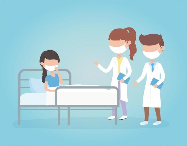 Wirus covid 19 kwarantanna, lekarz kobiet i mężczyzn z chorą kobietą w maskach