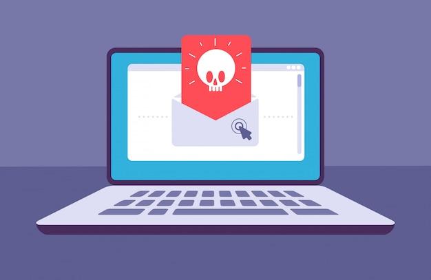 Wirus e-mailowy koperta z komunikatem o złośliwym oprogramowaniu z czaszką na ekranie laptopa e-mail spam, phishing i koncepcja ataku hakerów
