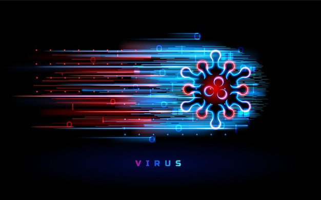 Wirus koronawirusa neon czerwony niebieski światło tło