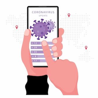 Wirus koronowy lub aktualizacja wiadomości obejmują dłoń trzymającą smartfon z wektorem wirusa na ekranie