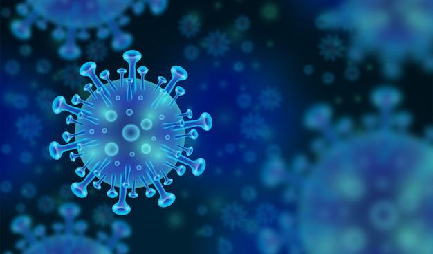 Wirus koronowy niebieskie tło