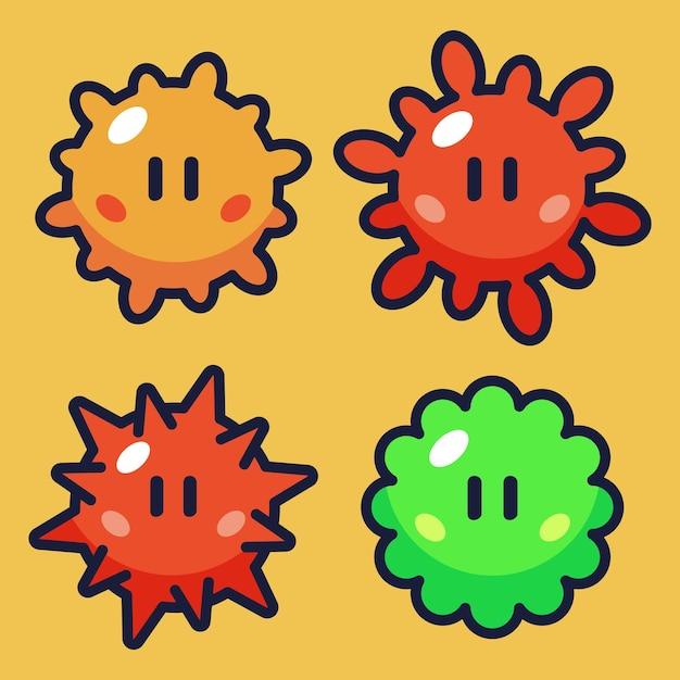 Wirus kreskówka wektor zestaw ilustracji 2