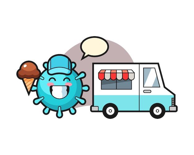 Wirus kreskówka z ciężarówką z lodami