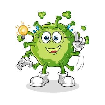 Wirus ma ilustrację pomysłu. postać