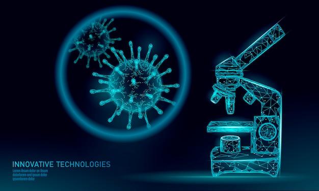 Wirus mikroskopu renderowania low poly. analiza laboratoryjna infekcja choroba przewlekła wirus zapalenia wątroby wirus grypy grypa zakaża organizm, pomoce. współczesna nauka o medycynie