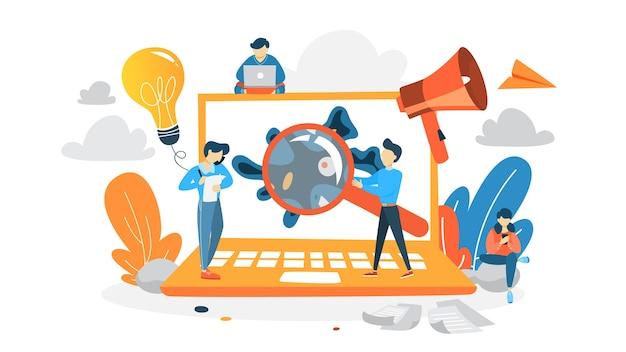 Wirus na laptopie wykrył koncepcję. dane cyfrowe lub cybernetyczne są zagrożone. idea bezpieczeństwa i ochrony w internecie. ilustracja