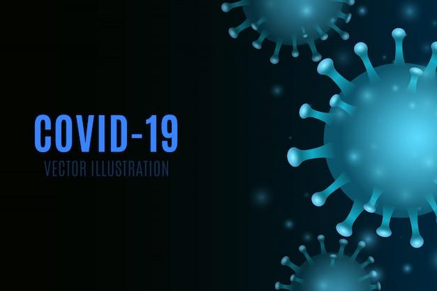 Wirus na niebieskim tle. świecący 3d mikrob koronowy. pojęcie medyczne. ilustracja