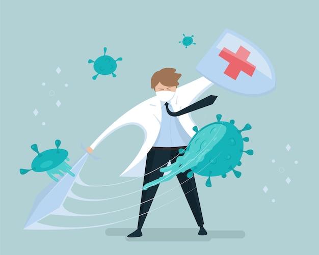 Wirus ochrona . lekarz z koronawirusem walczącym z tarczą i mieczem. medyczne zwycięstwo nad wirusami. ilustracja.