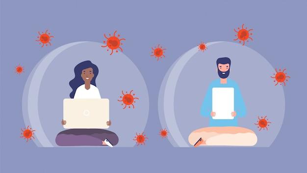 Wirus ochrona. ludzie w przezroczyste bąbelki z laptopem. okres izolacji koronawirusa, kwarantanna i globalna pandemia. mężczyzna kobiety zdrowie gacenia ilustracja