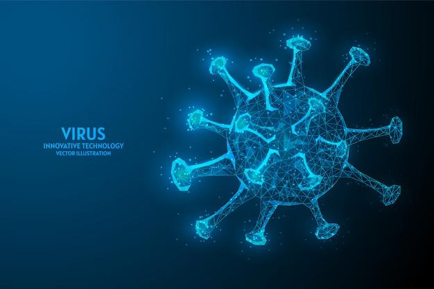 Wirus. zakażenie koronawirusem z bliska pod mikroskopem. analiza 2019-ncov, covid-19. innowacyjna technologia medyczna, stworzenie leku przeciwwirusowego, badania mikrobiologiczne.