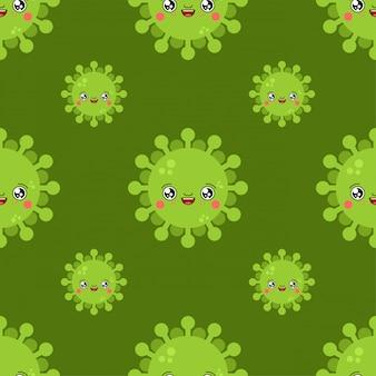 Wirusowy kawaii śliczny kreskówka wzór. śmieszne tło zakażenia.
