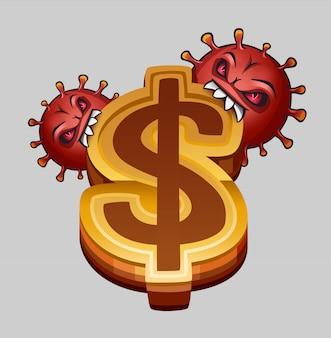 Wirusy jedzą znak dolara