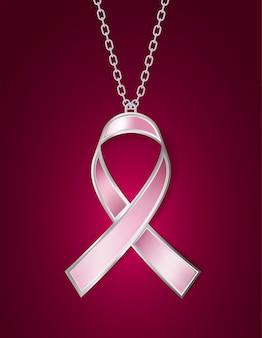 Wisiorek w kształcie różowej wstążki świadomości raka piersi. ilustracja
