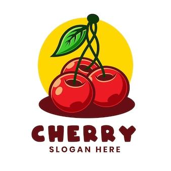 Wiśnia cartoon logo szablon