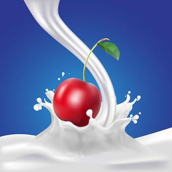 Wiśnia i mleko lub soja rozpryskiwania na niebieskim tle plakat szablon