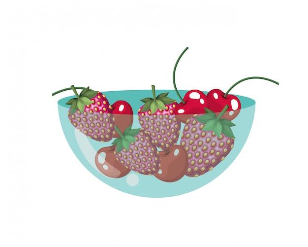 Wiśnia i truskawka na pojemniku