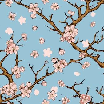 Wiśnia lub sakura bezszwowe tło wzór
