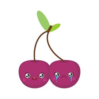Wiśnia smutna i wesoła kawaii śliczna kreskówka. śmieszne wiśnie. ilustracja wektorowa słodkie jedzenie