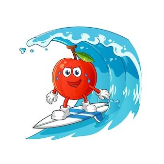 Wiśnia surfuje na fali. kreskówka maskotka